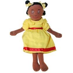 Girl (Dark Skin,Yellow Dress) - Finger Puppet