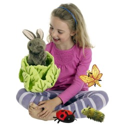 Rabbit in Lettuce with 3 Mini Beasts - Hide Away Puppets