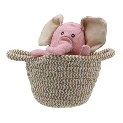 Elephant (pink) - Wilberry Pets in Baskets Soft Toy